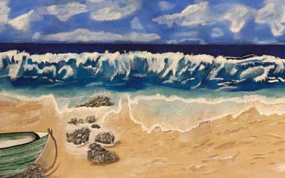 Havet i rörelse Akryl 140×70 3500:-