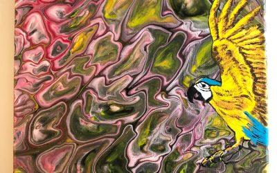 Akryl Fluid Papegoja 20×20  600:-