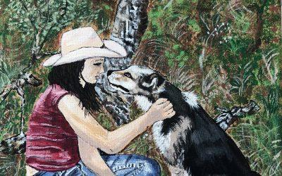 Flickan och hunden 20×20 1100:-