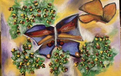 Fjäril i sprakande färg Akryl 50×70 1900:- SÅLD!!
