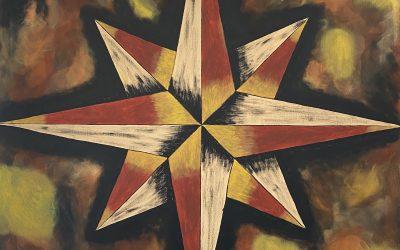 Kompassros i sprakande färg 100×100 2500:-