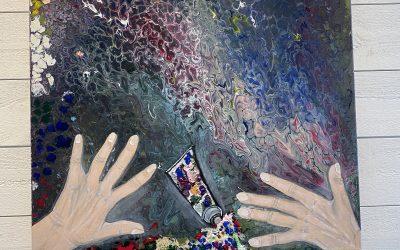 Akrylmålning 50×50 Känslan av kladd 1000:-