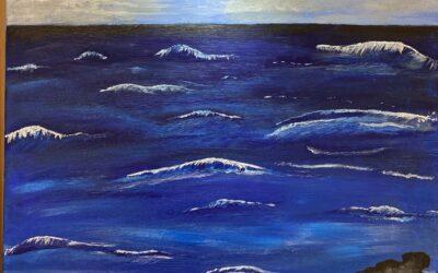 Utsikt över havet 60×50 Akryl 1500:-