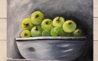 Gröna saftiga äpplen olja 2500:-