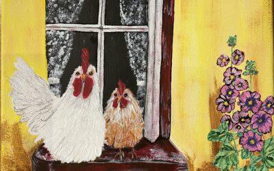 Hönsen i fönstret akryl 30×24 1500:-